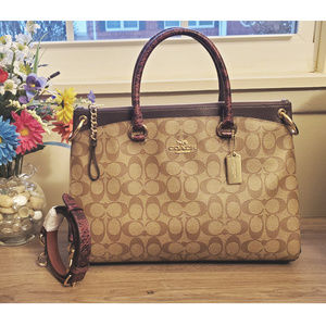 ❤️NWT!!! COACH SIGNATURE SNAKE MIX MIA SATCHEL❤️